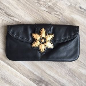 Coldwater Creek Leather Clutch Ornate Metal Flower